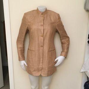 BARNEYS NEW YORK Tan Striped Linen Longline Blazer